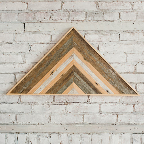 Reclaimed Wood Wall Art - Large Triangle - Gray
