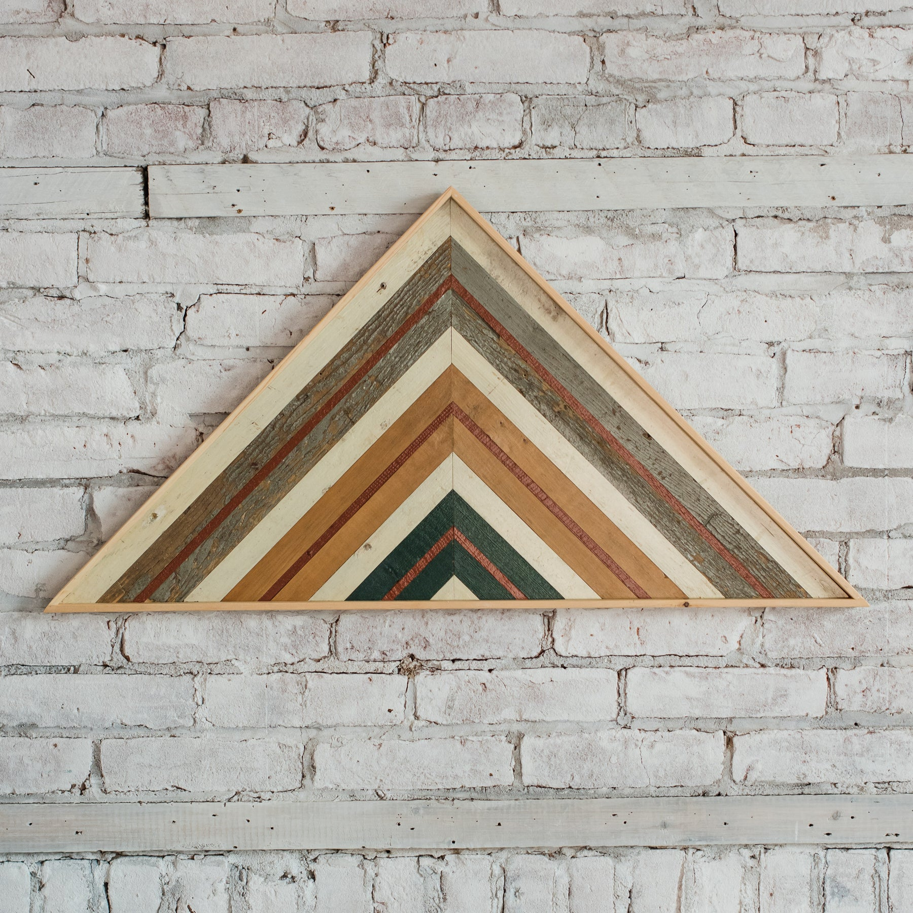 Reclaimed Wood Wall Art Large Triangle Colorful
