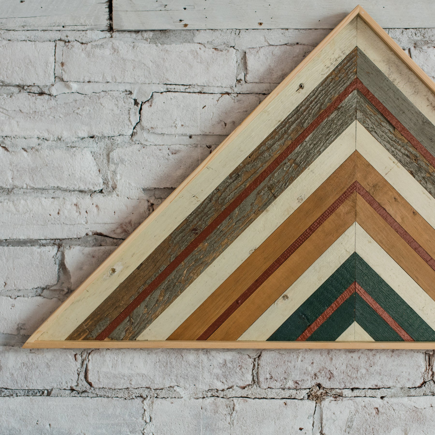 ... Reclaimed Wood Wall Art   Large Triangle   Colorful