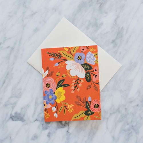 Lively Floral Card - Red