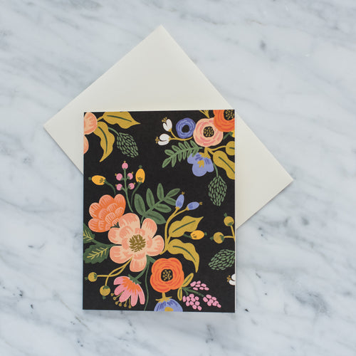 Lively Floral Card - Black