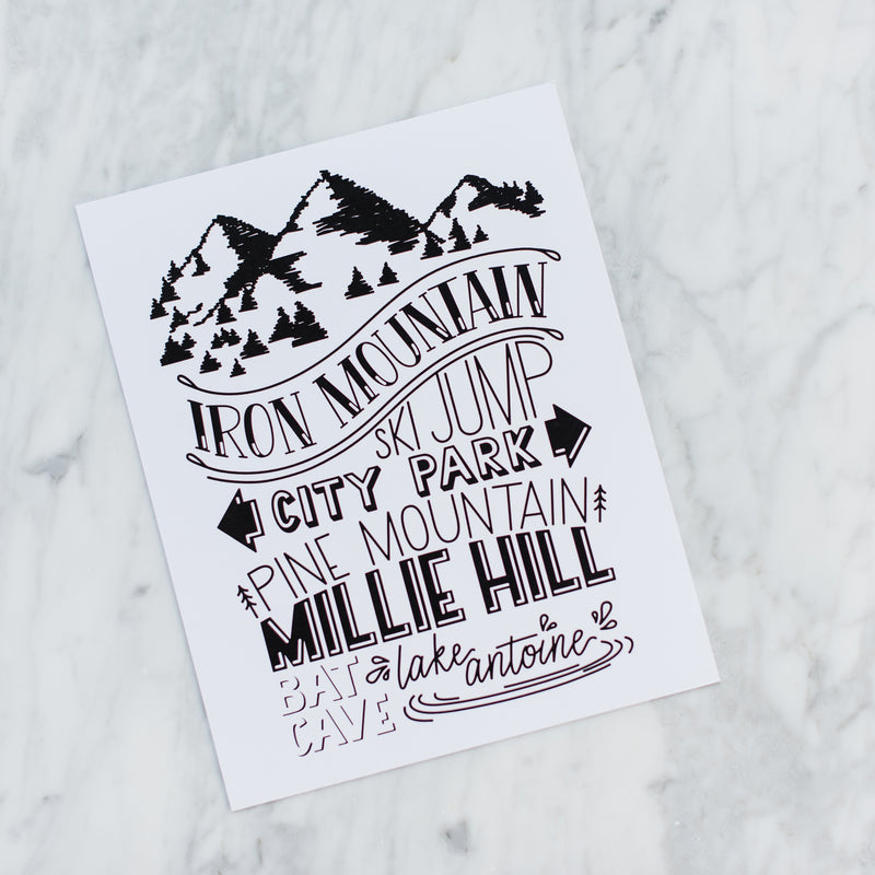 Iron Mountain Landmarks Art Print