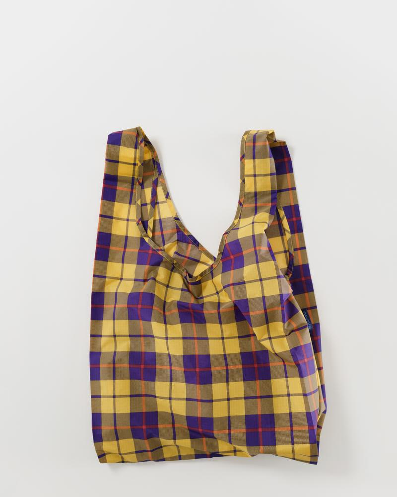 BAGGU Reusable Bag - Standard Size in Yellow Tartan