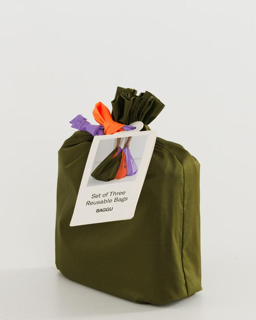 BAGGU Reusable Bag - Set of 3 - Standard Size in Meadow