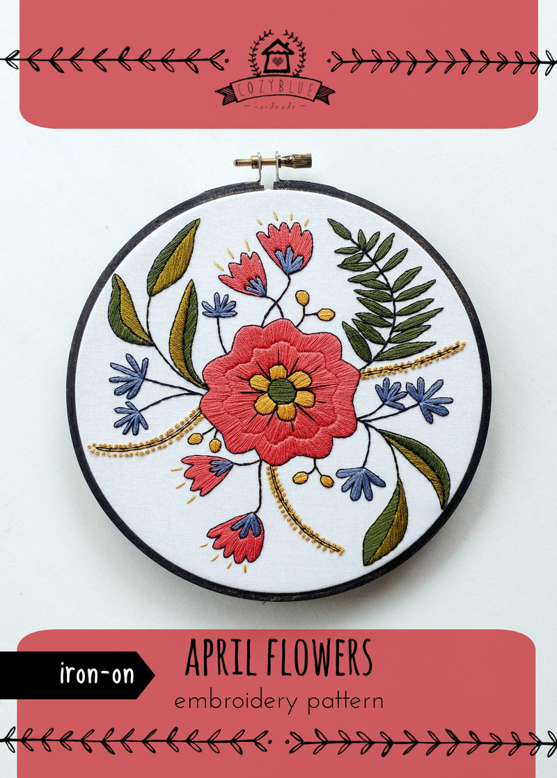 April Flowers Embroidery Pattern