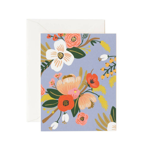 Lively Floral Card - Periwinkle