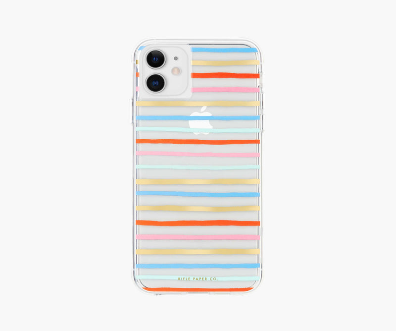 Clear Happy Stripes iPhone Case