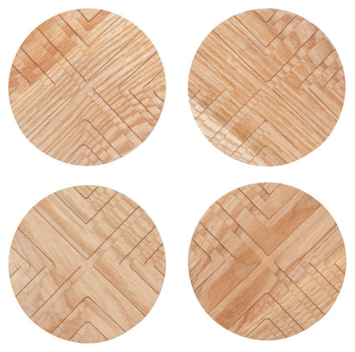 Facet Geo Coasters - Ash Wood