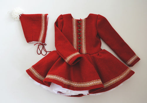 Red Poinsettia Figure Skating Dress
