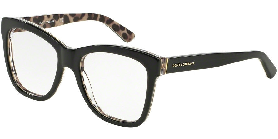 Dolce & Gabbana DG3212 2857 TOP BLACK/LEO Specs at Home