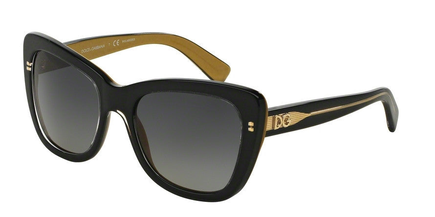Dolce & Gabbana DG4260 2955T3 TOP BLACK ON GOLD (Polarized) Specs at Home