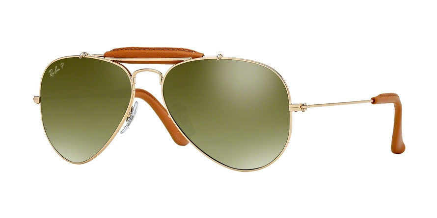 RayBan RB3422Q 001/M9 ARISTA/LIGHT BROWN LEATHER (Polarized) Specs at Home
