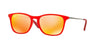 RayBan RJ9061S 70106Q RED FLUO TRASPARENT RUBBER Specs at Home