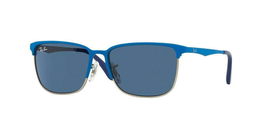 RayBan RJ9535S 244/80 TOP MATTE BLUE ON SILVER Specs at Home
