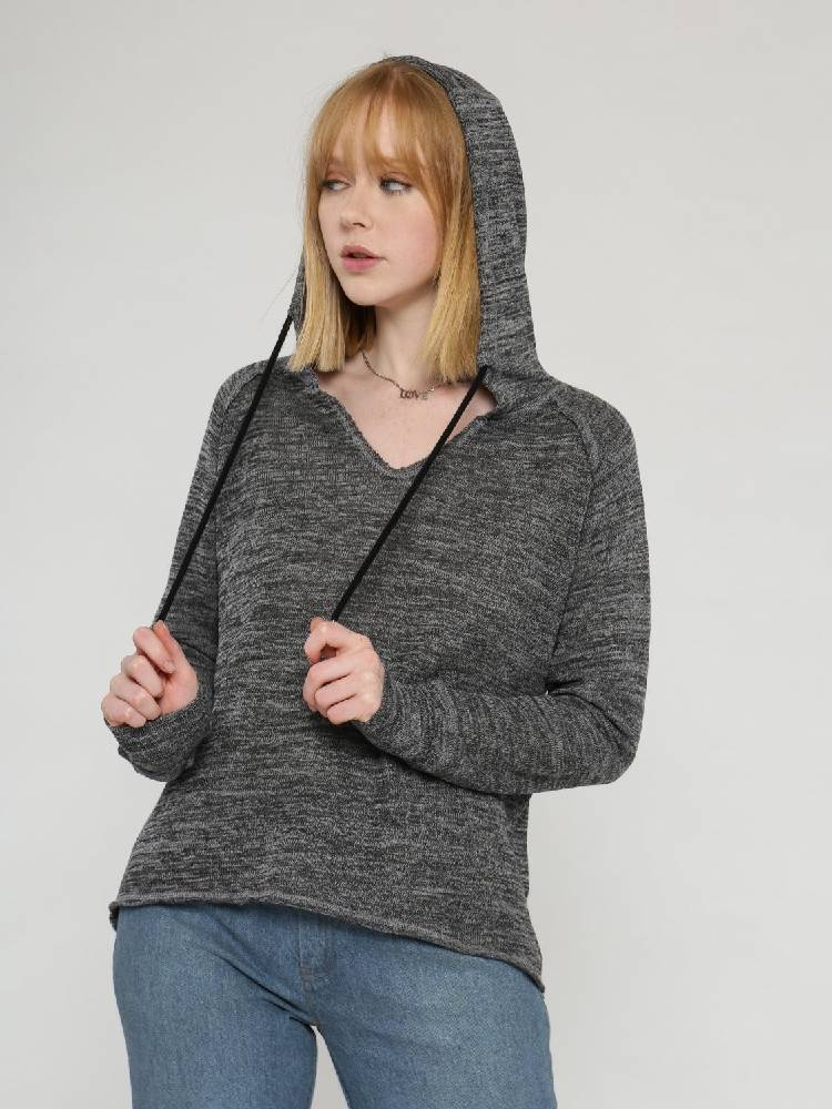 Hoodie with drawstring and loose crop top shape with raw edge in grey