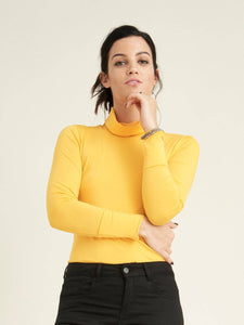 slim silhouette turtleneck with slouchy rollneck and deep cuffs