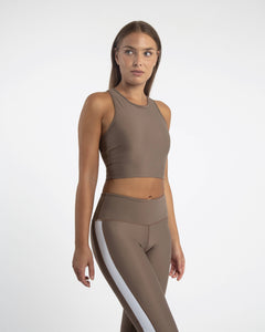 Econyl sleeveless sports crop top in brown