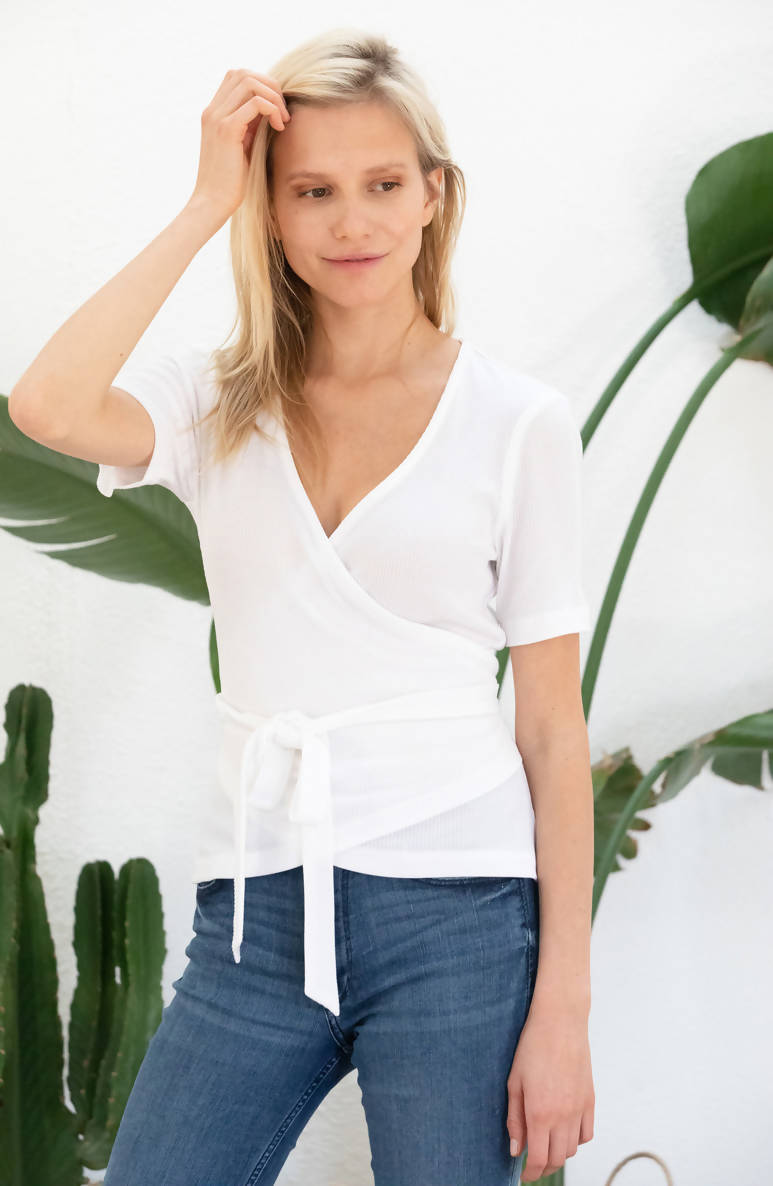 Avani Apparel Wrap-Over Top Olivier - White at Eco Fashion Labels 1