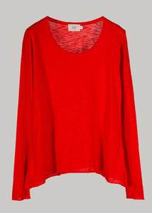 Organic Round Neck T-Shirt L/S ~ Miriam ~ Fiery Red