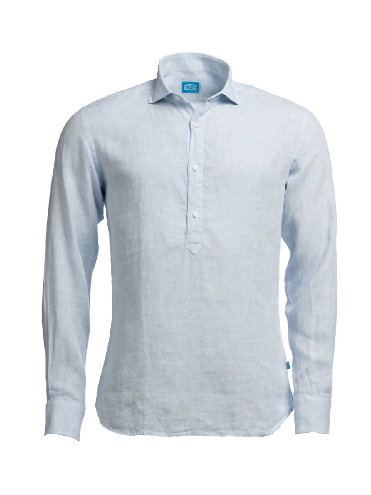PANAREHA Linen Popover Shirt MAMANUCA Light Blue