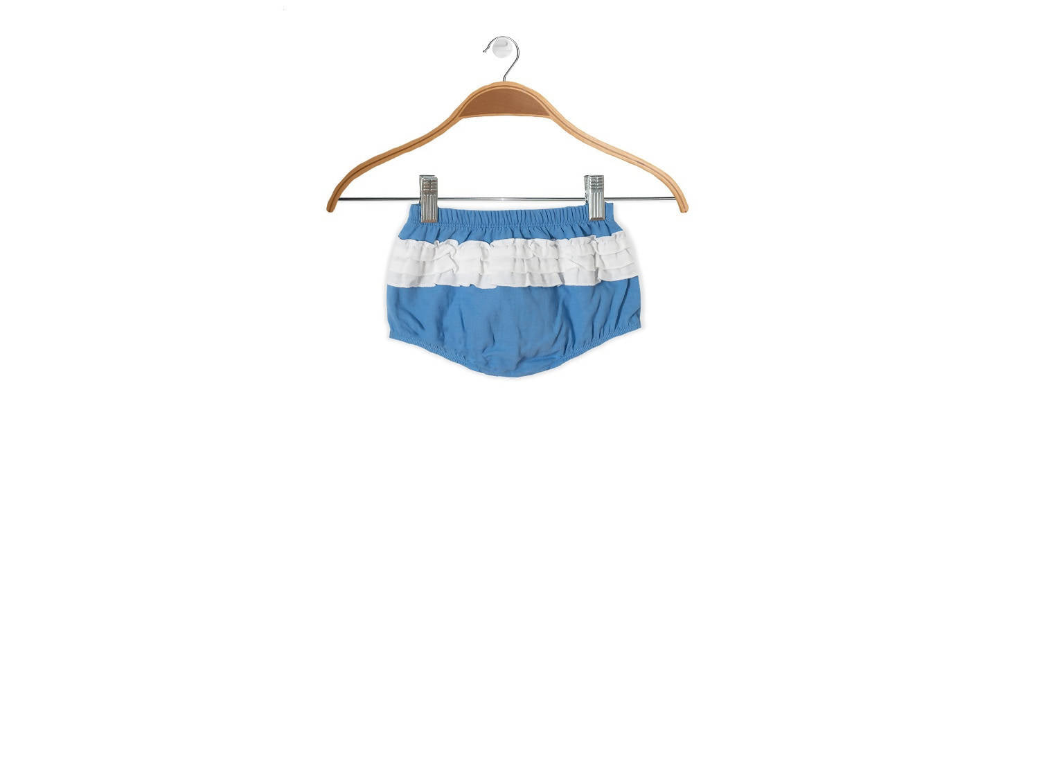 Peter Jo Kids Organic Shorts Gigil Puff shorts for baby girls blue made of organic muslin cotton