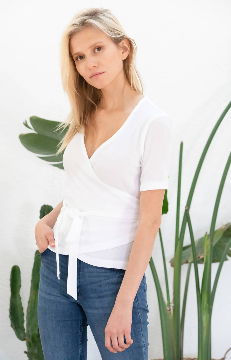Avani Apparel Wrap-Over Top Olivier - White at Eco Fashion Labels
