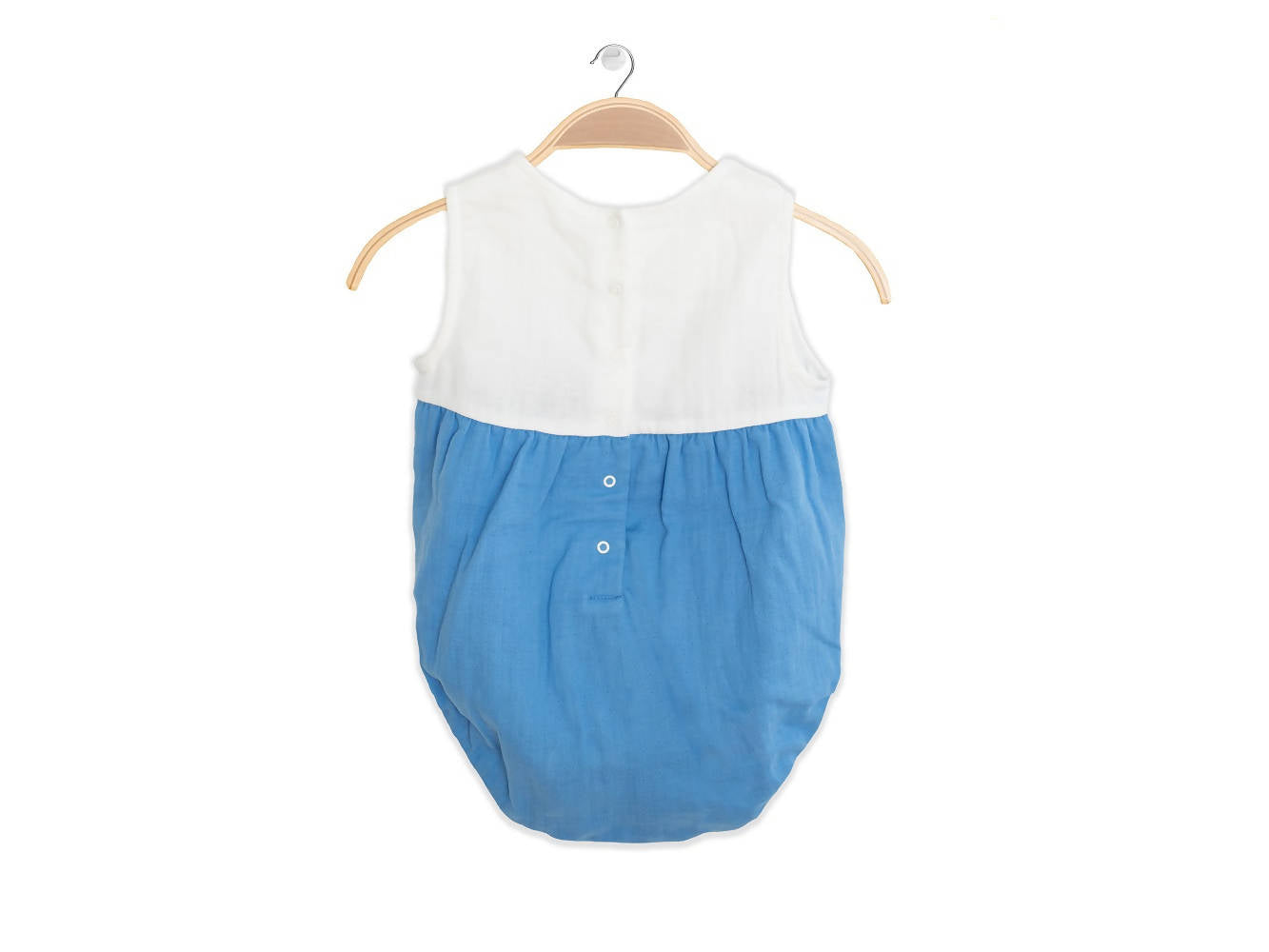 Peter Jo Kids Organic Onesie Lullaby blue made of organic muslin cotton 1