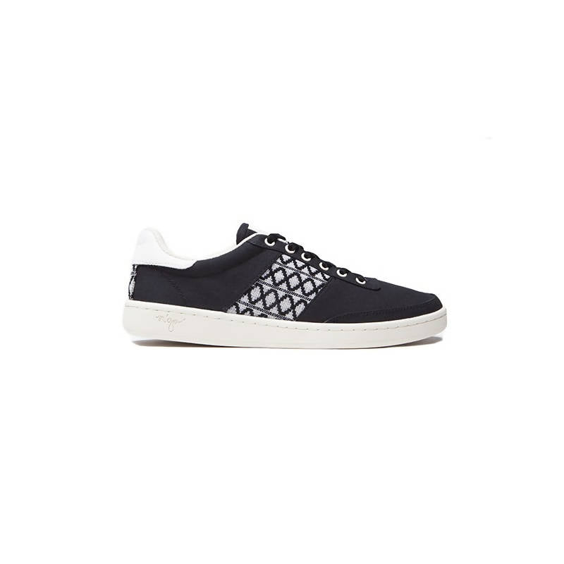 Low-top sneakers in black cotton with white details