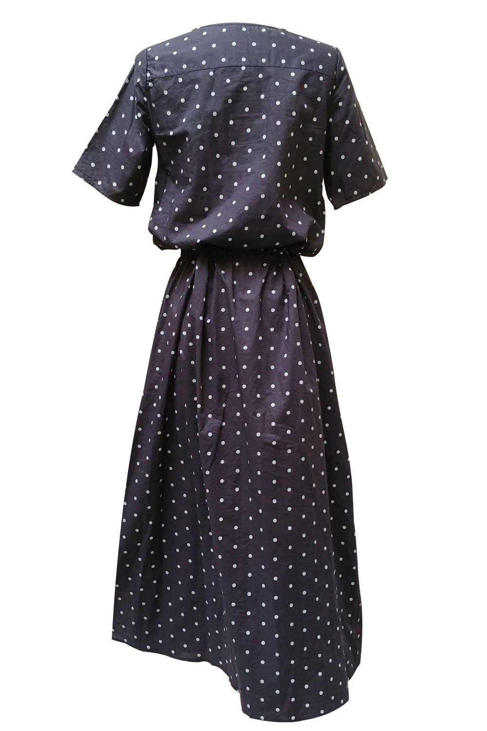 Upcycled cotton dress Myriel - Dotted charcoal