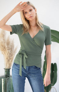 Avani Apparel Wrap-Over Top Olivier - Green Olive at Eco Fashion Labels
