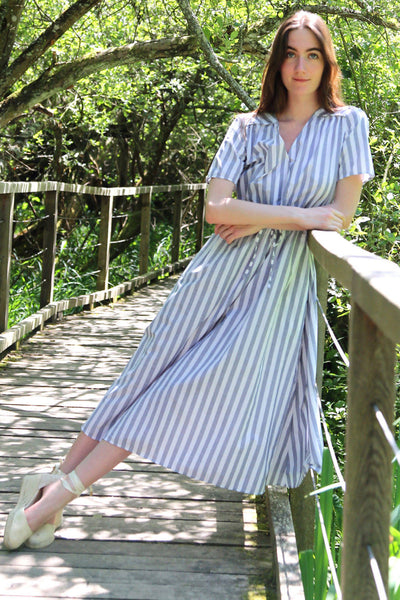 Upcycled cotton dress Fantine - Striped blue