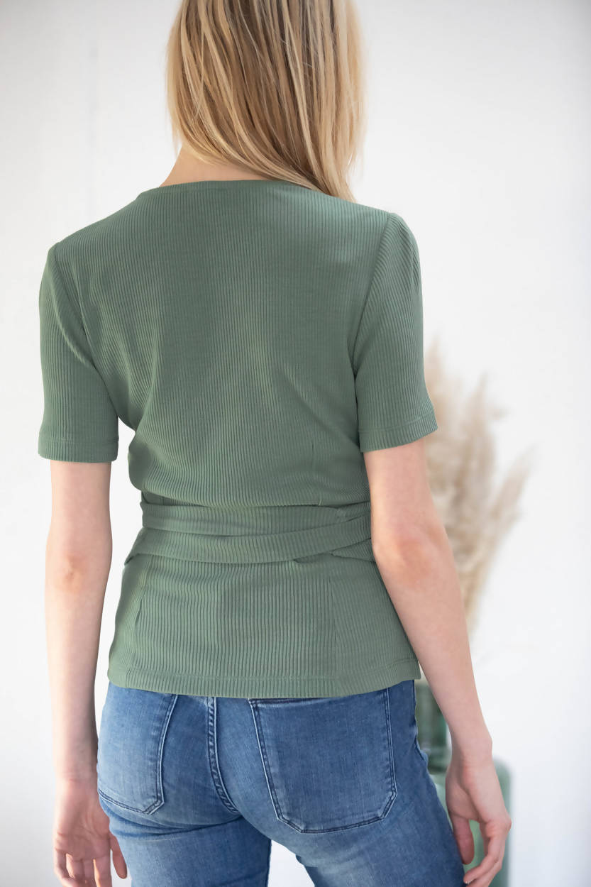 Avani Apparel Wrap-Over Top Olivier - Green Olive at Eco Fashion Labels 2