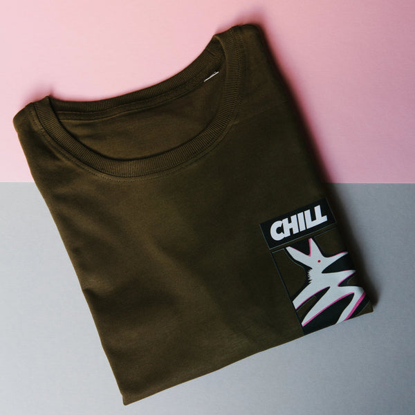 CHILL LIKE A PRO - Khaki Winter Tee - Organic Cotton