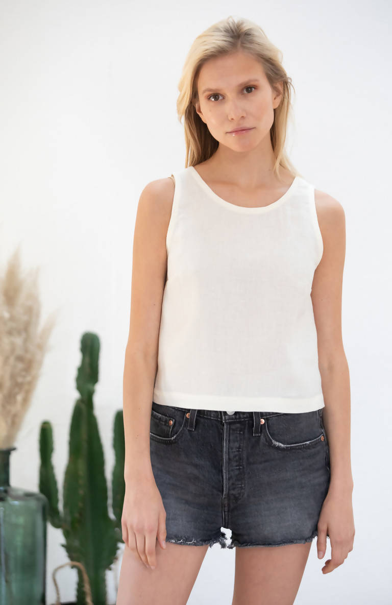 Avani Apparel Linen Crop Top Mehonia at Eco Fashion Labels