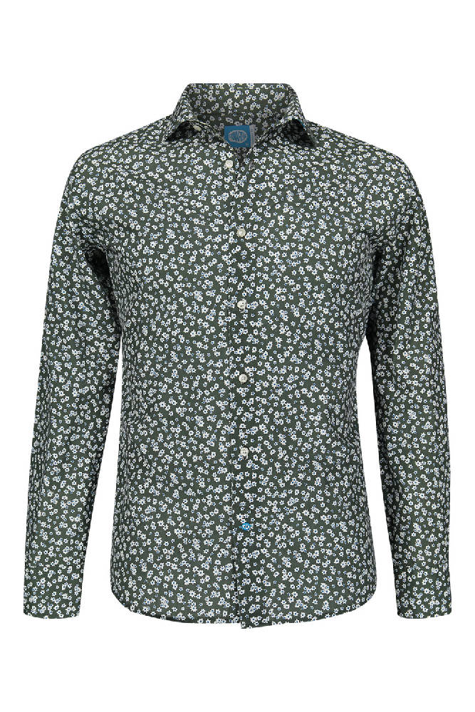 PAROS Organic Cotton Floral Shirt Green