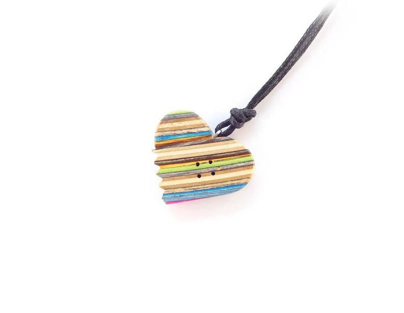 Skate Heart necklace made from Recycled Skateboards
