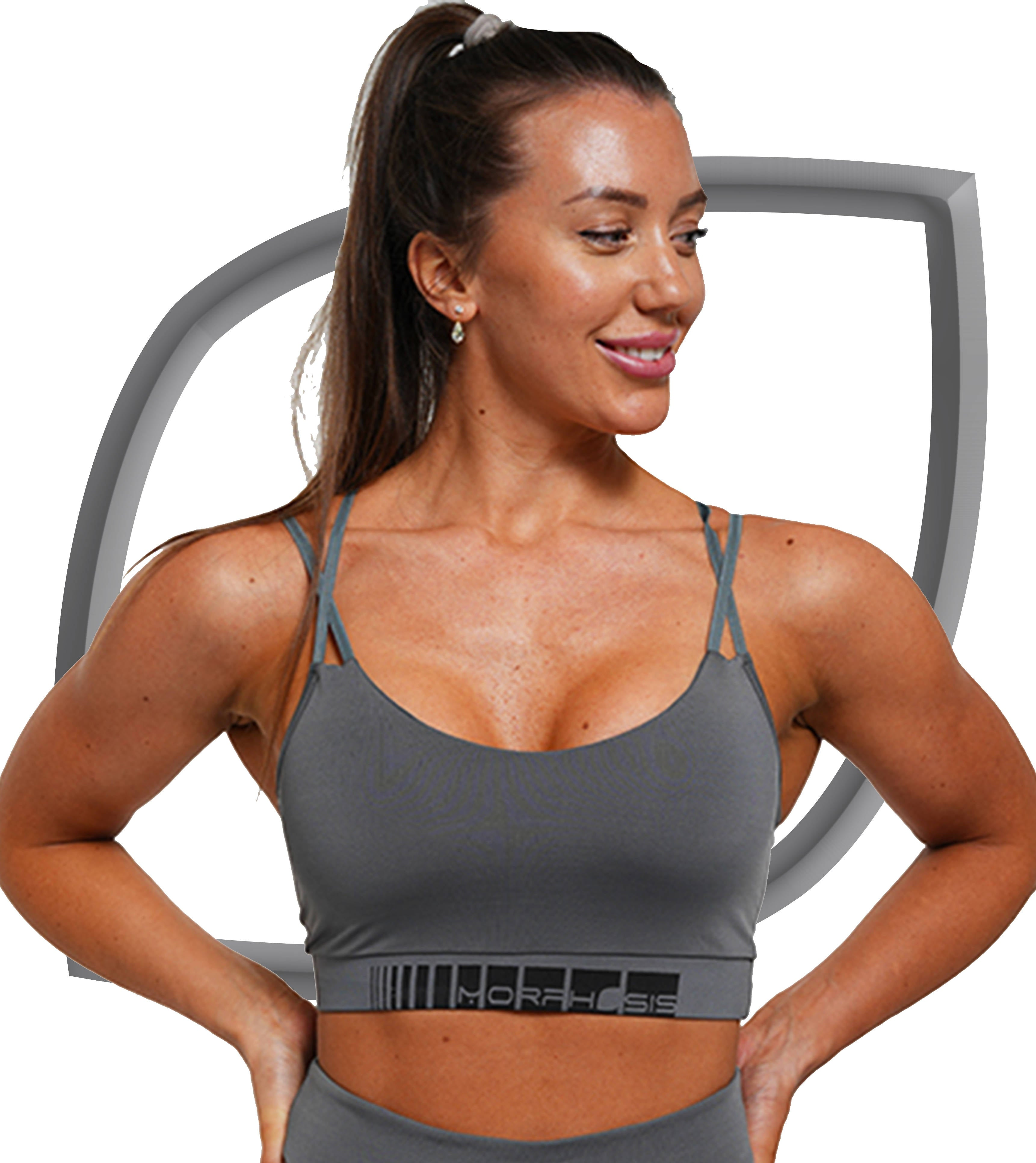padded sports bra in grey with black details