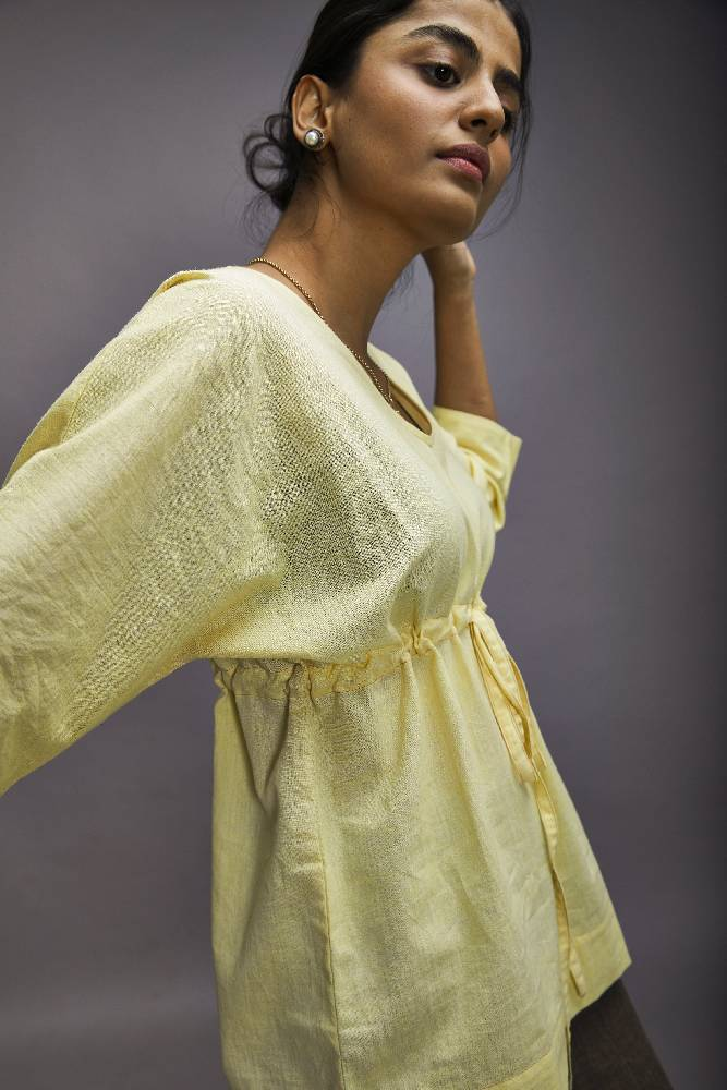 V-neck Poncho Top - Lemon yellow