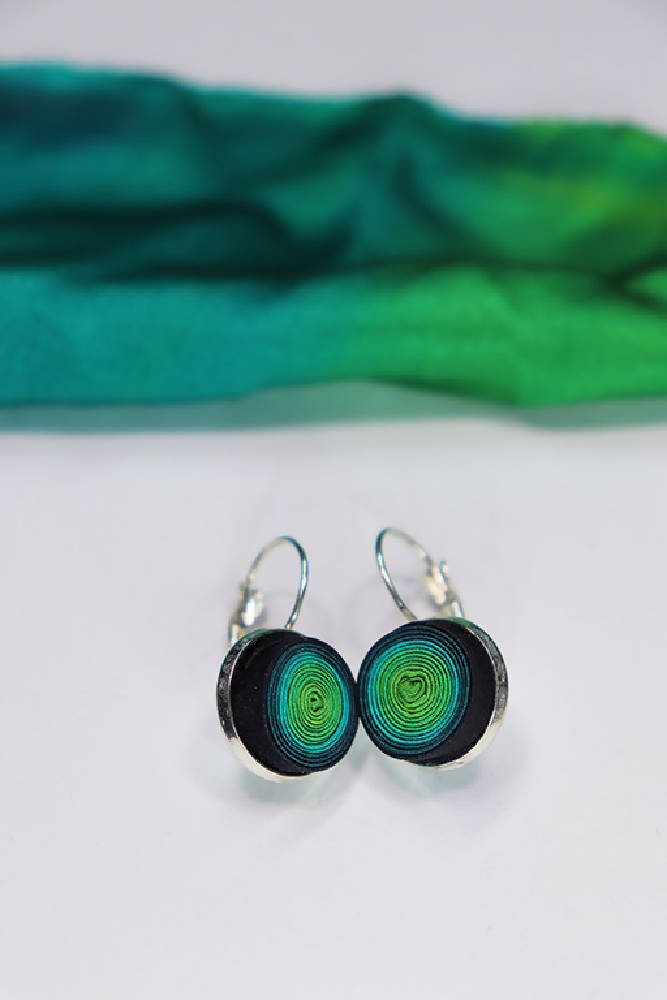 Peace Silk Spiral Earring Monachella 14mm Color 'Classic Green'
