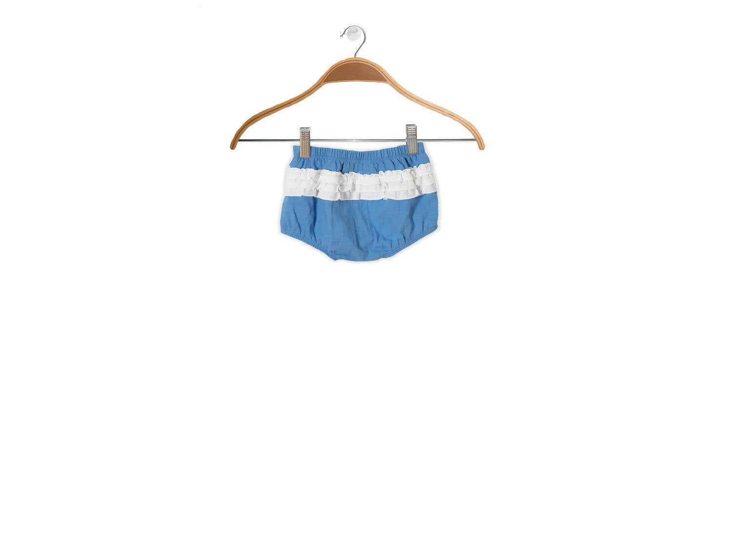 Peter Jo Kids Organic Shorts Gigil Puff shorts for baby girls blue made of organic muslin cotton 1