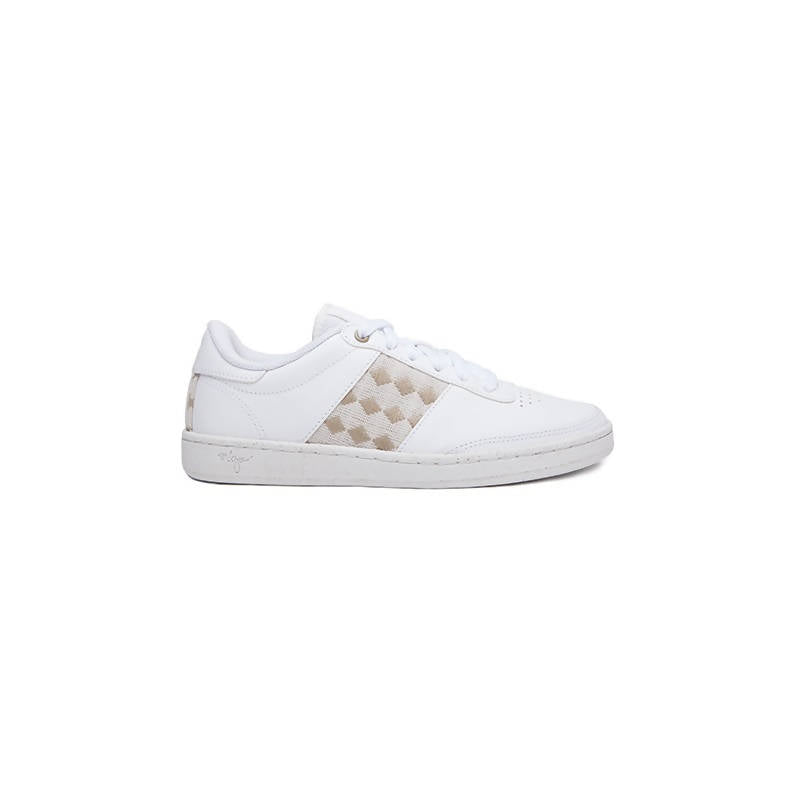 Recycled low-top sneakers in white with beige details