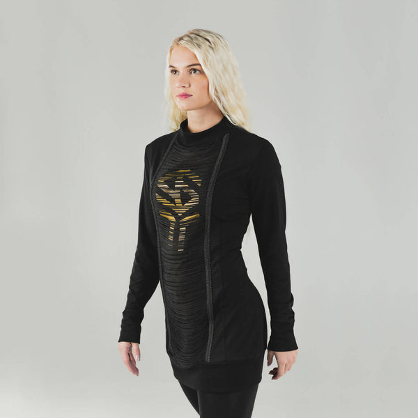 SINCERELY YOURS - Bamboo 'Flow' Sweater Dress - Black With Gold