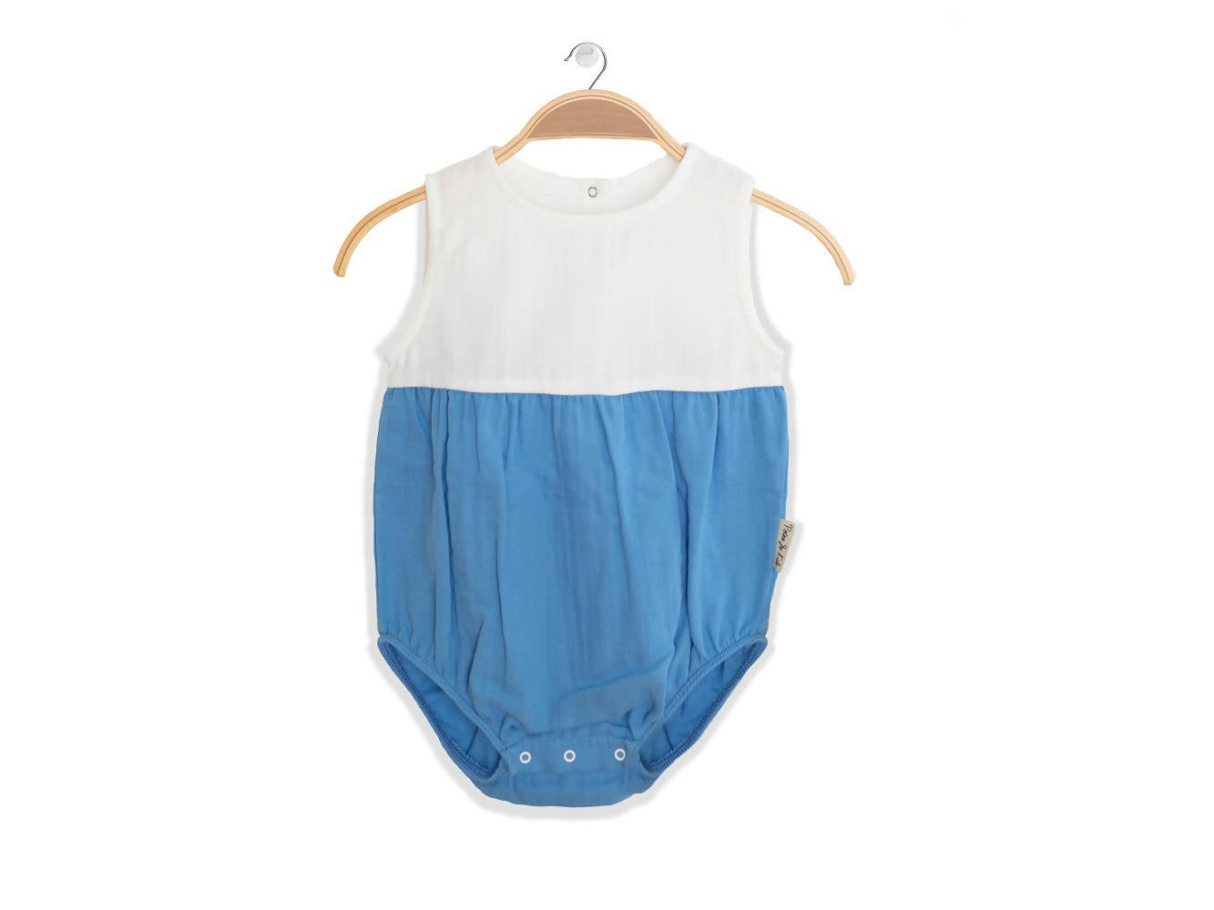 Peter Jo Kids Organic Onesie Lullaby blue made of organic muslin cotton