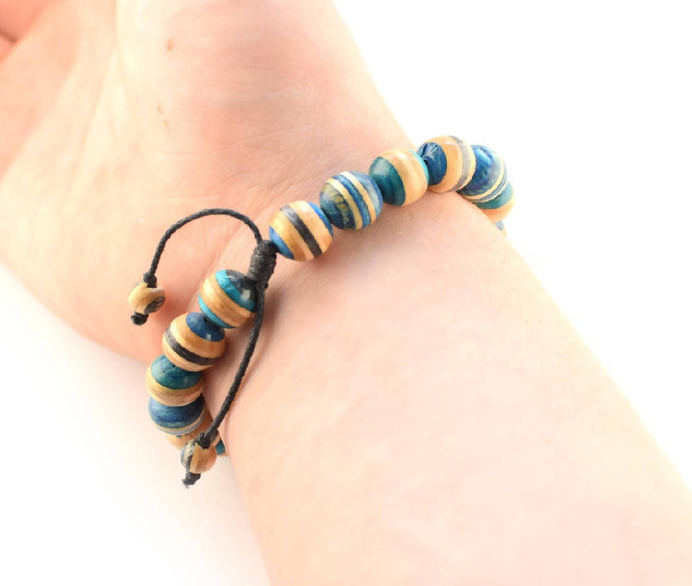 Recycled Skateboards Blue Bracelet