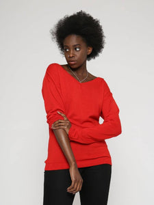oversized knitted jumper with wide v-neck and long sleeves. loose fit