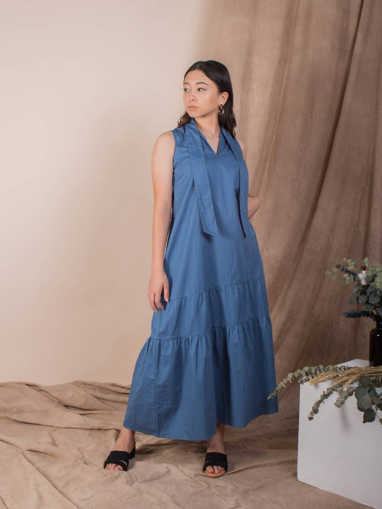 the trapeze midi dress - indigo