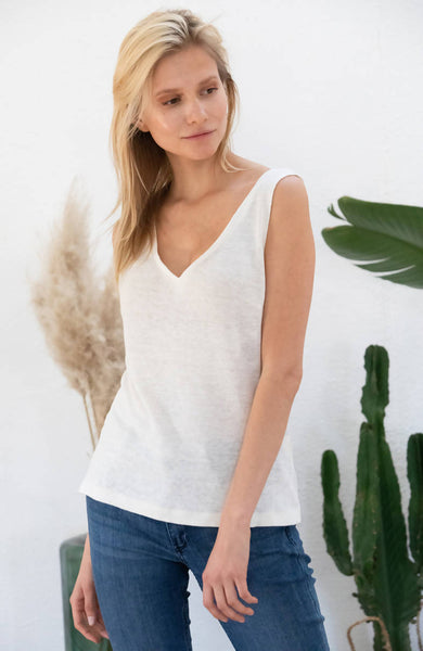 Linen Tank Top Lilas - Off-white
