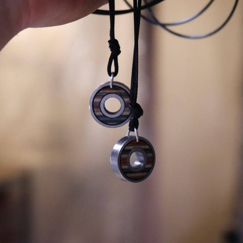 Bearing pendant recycled skateboards Eco Fashion Sustainable