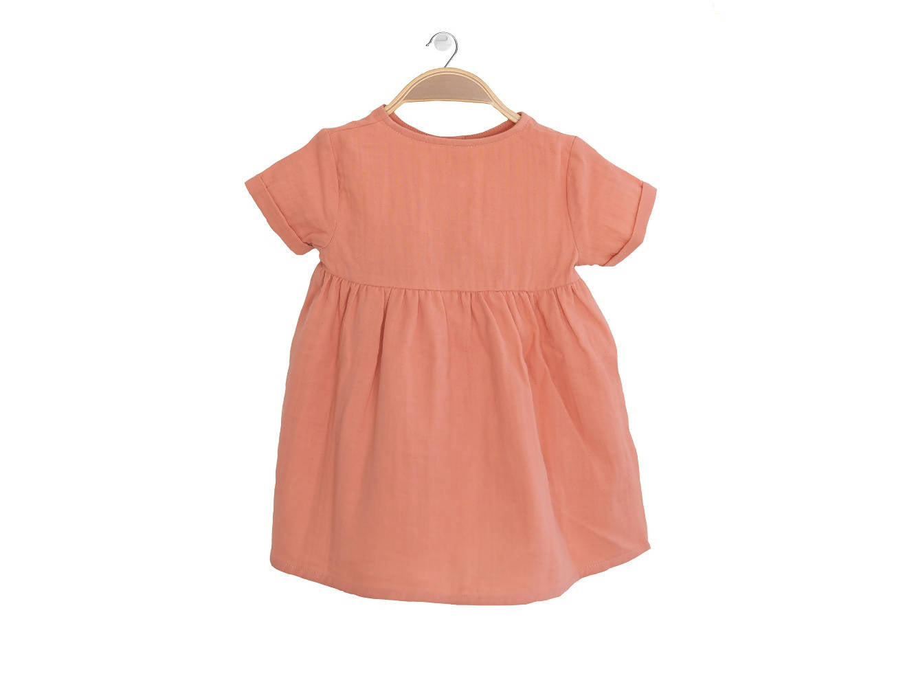 Peter Jo Kids Organic Dress Harmony for baby girls made of organic muslin cotton peach 1