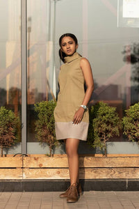 Adjustable turtle neck, split hue, sleeveless straight cut dress - Anar Green and Grey